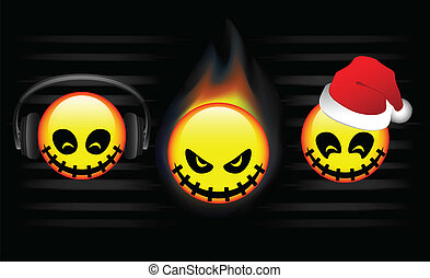 Three abstract emoticons with halloween, christmas and music...