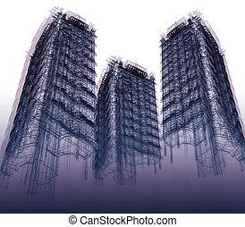 Three abstract sky-scrapers. 3D render Illustration.