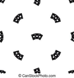 Three aces playing cards pattern seamless black