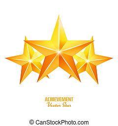 Three Achievement Stars. Yellow Sign. Golden Decoration Symbol. 3d Shine Icon Isolated On White Background.