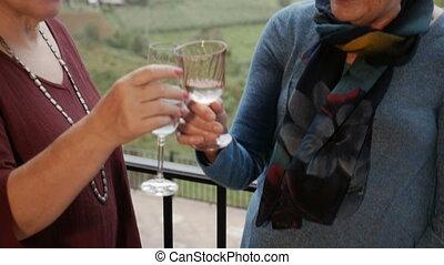 Three active senior women toast outside with an amazing mountain view