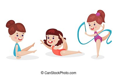 Three Adorable Girls Doing Gymnastic And Stretching Exercises Vector Illustration Set Isolated On White Background