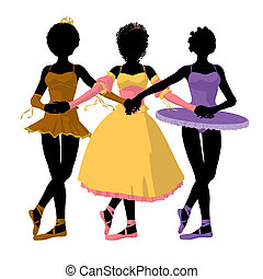 Three African American Ballerinas Illustration Silhouette -...
