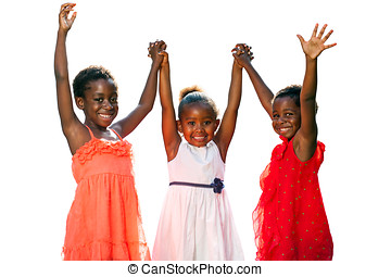 Three african kids joining hands in air. - Close up portrait...