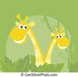 Three african safari giraffes - Yellow safari giraffes...