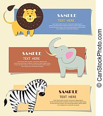 Three African Wild Animals Nursery Color Cards