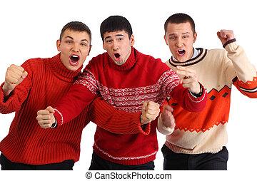 Three aggressive young hooligans