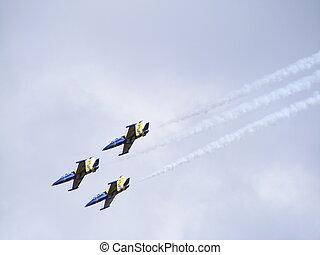 Three airplanes in the air - Three aero l-39 albatros plane...