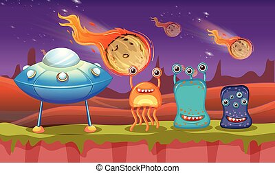 Three aliens and UFO on planet