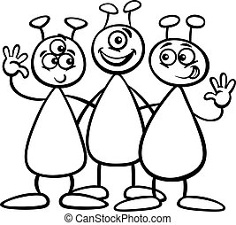 three aliens for coloring book