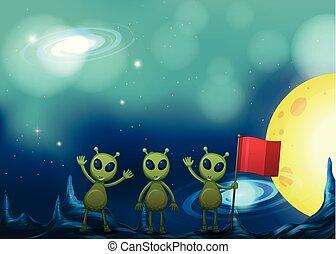 Three aliens on strange planet