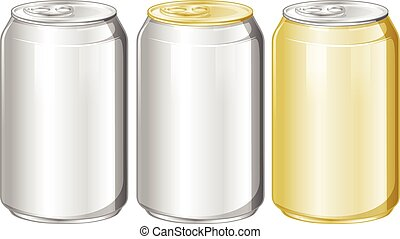 Three aluminum cans without label
