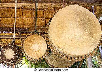 Three ancient drum