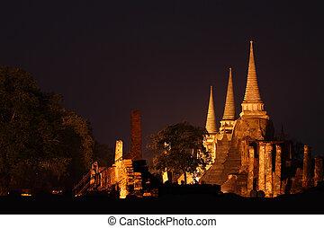 Three ancient pagoda night from ayuthaya thailand.