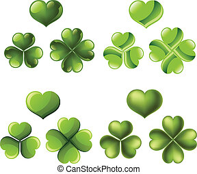 Three and four leaf clover set