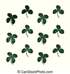 Three And Four Leaf Clovers Set