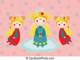 Three angels on a cloud. Greeting card
