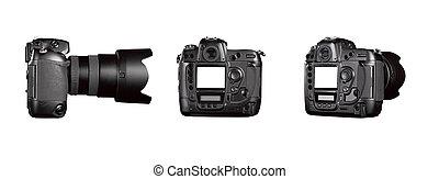 Three angle of Black digital camera - clipping path