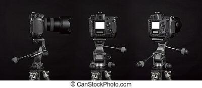 Three angle of Black digital camera on black background