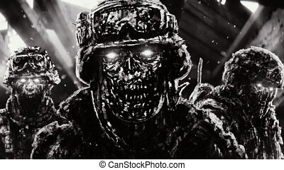 Three angry zombies soldiers in helmets stand against the background of flying dark clouds.