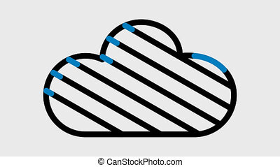 Three Animated Cloud Icons, there is an alpha channel