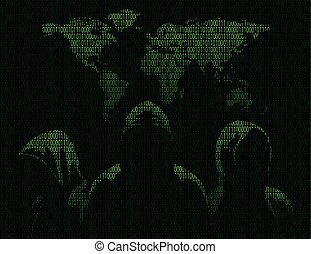 Three anonymous and maps the world in binary code