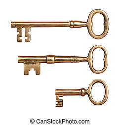 Three Antique Brass Keys isolated on white with a clipping ...