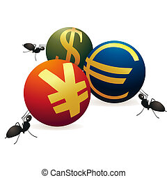 Three ants with three symbols of Yu