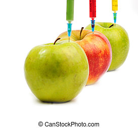 Three apple with syringes injecting colorful liquid