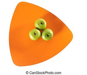 Three apples. Isolated