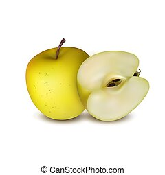 Three apples isolated on white background. Red, yellow and green color. Vector