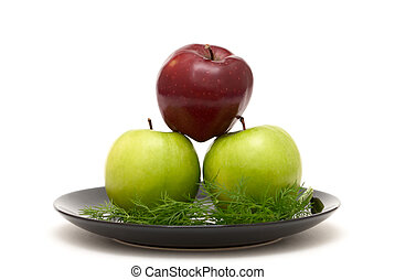 Three apples on a plate