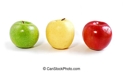 Three apples on white background: green, yellow and red
