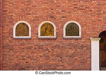 Three Arch Windows at Brick Wall Building