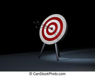 in target - Three arrow in target. Hit the mark.