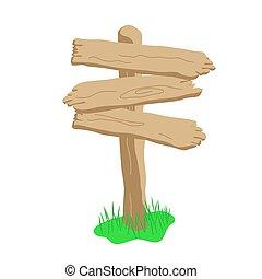 Three arrow shape cartoon wooden sign isolated on white