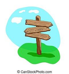 Three arrow shapes cartoon wooden signpost