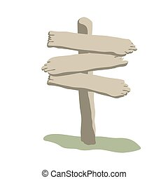 Three arrow shapes weathered wooden signs