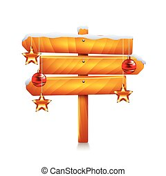 Three arrows christmas wooden sign isolated vector