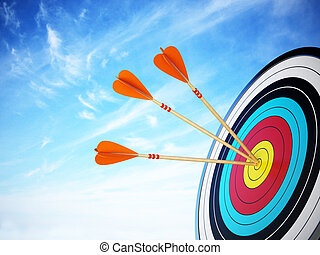 Three arrows hit at the center of the target. 3D...