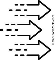 Three arrows icon, outline style