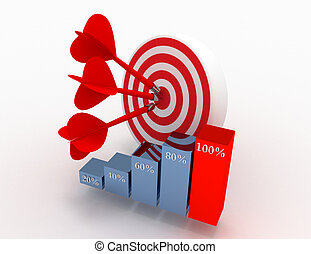 Three arrows in the center of a red target and graph. business concept