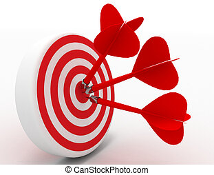 Three arrows in the center of a red target. business concept
