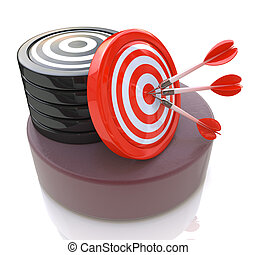 Three arrows in the center of a red target. Image suitable for illustration of strategic business solutions or corporate strategy purpose