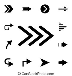Three arrows to the right flat vector icon in arrows pack
