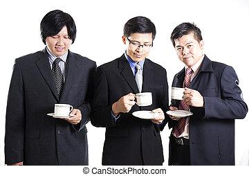 Three Asian business man with coffee break