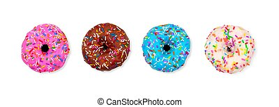 Three assorted donuts isolated on a white background