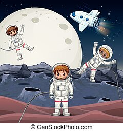 Three astronauts exploring space