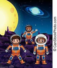 Three astronauts on moon surface