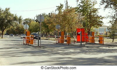 Automatic security barrier at the parking - Three Automatic...